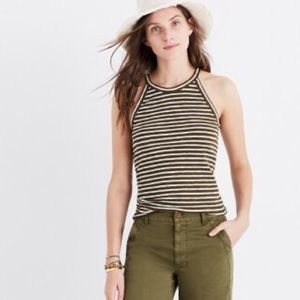 Madewell Olive Striped Tank
